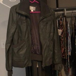 Army Green Faux Leather Bomber Jacket